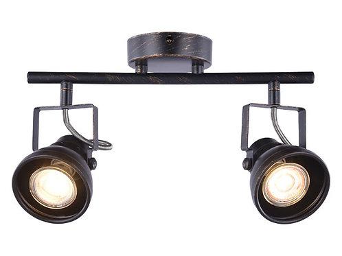 Barra tubo 2 luces GU10 Cazo terminación pátina negro ( SIN AMPOLLETAS )