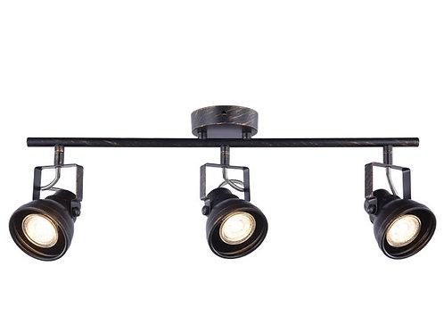 Barra tubo 3 luces GU10 Cazo terminación pátina negro ( SIN AMPOLLETAS)