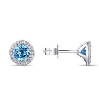 14 K White Gold 1.52 CT TW Blue Topaz and .11 TW Diamond Stud Earrings