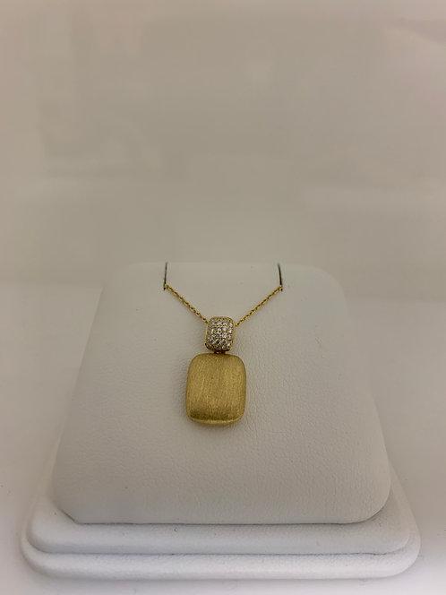 14 K Yellow 0.13 TW Diamond Brushed Gold Pendant