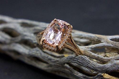 14 K Rose Gold, 1.67 CTW Morganite with 0.09 TW diamond Ring