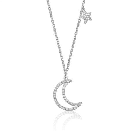 Give them the moon and the stars. 14 K White Gold & Diamond Necklace