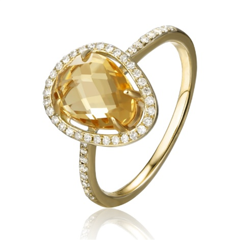 14 K Yellow Gold Citrine and Diamond Ring. Total Diamond Weight: 0.17 CTS