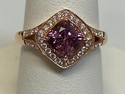 14 K Rose Gold 1.59 CT Pink Spinel & 0.22 CT TW Diamond Ring