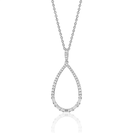 14 K White Diamond Necklace. Total Diamond Weight: 0.80 CT