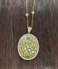 14K Yellow Gold 3.01 CT TW Diamond Pendant.