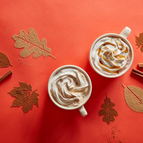 Hot Chocolate and  pumpkin spice coffee