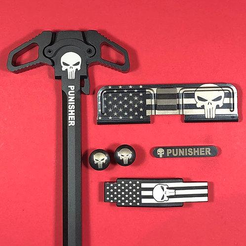 AR15 Engraved Ambidextrous Handle Set - Punisher