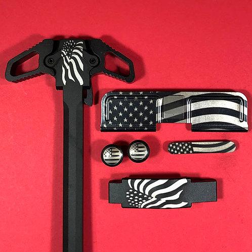 AR15 Engraved Ambidextrous Handle Set - Waving Flag
