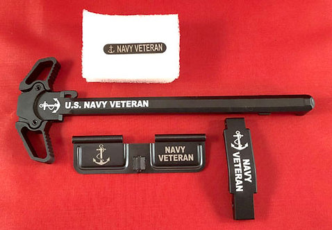 AR15 Engraved Ambidextrous Handle Kit - Navy Veteran