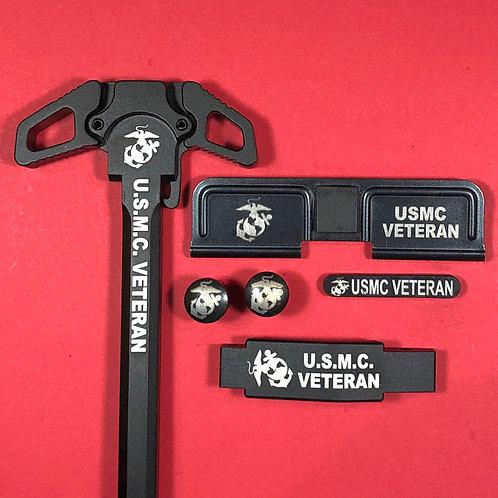 AR15 Engraved Ambidextrous Handle Set - U.S.M.C. Veteran