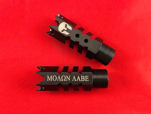 .223/5.56/.22LR Engraved Shark Muzzle Brake 1/2x28 Pitch - Molon Labe