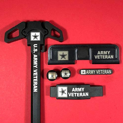 AR15 Engraved Ambidextrous Handle Set - Army Veteran