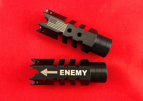 .223/5.56/.22LR Engraved Shark Muzzle Brake 1/2x28 Pitch - Enemy