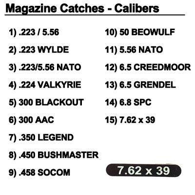 Engraved Magazine Catch - Calibers