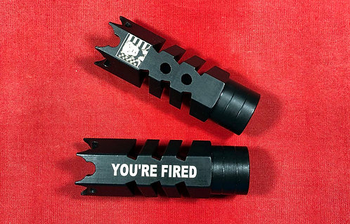 .223/5.5.22LR Engraved Shark Muzzle Brake 1/2x28 Pitch - Trump You're Fired