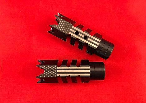 .223/5.56/.22LR Engraved Shark Muzzle Brake 1/2x28 Pitch - Big U.S. Flag