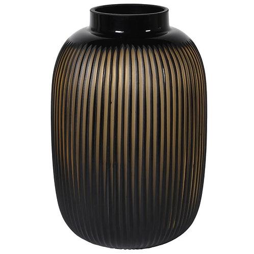 Amber Glass Ribbed Vase