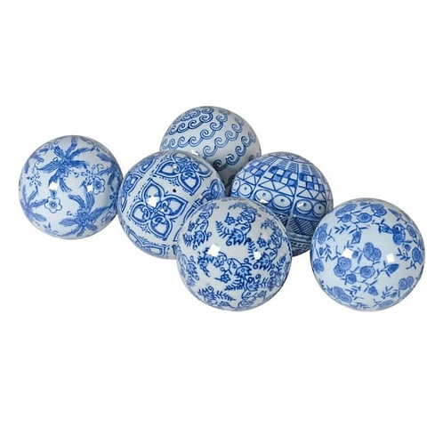 Set of 6 Assorted Blue & White Chinoisery Orbs