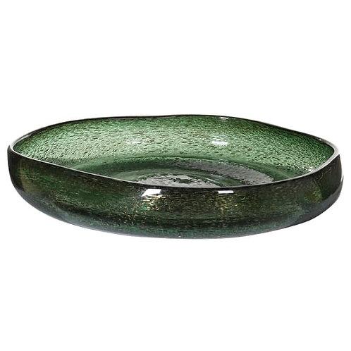 Green Misshapen Bowl with Bubbles
