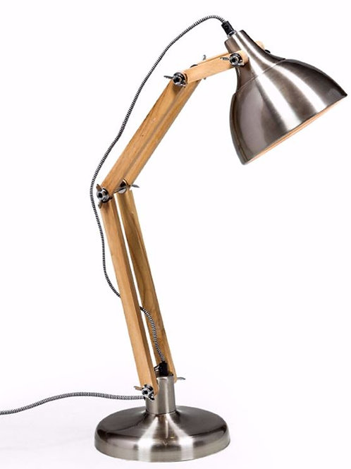Brushed Steel Wooden Arms Lamp