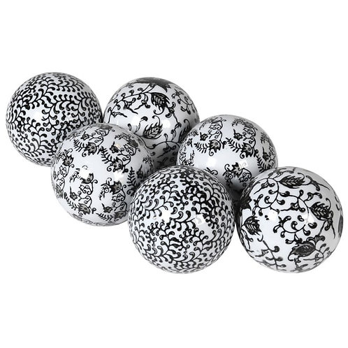 Set of 6 Black & White Balls