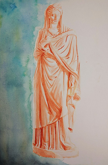 Watercolor of Classical Statue
