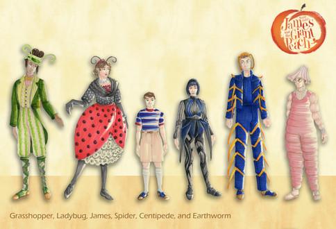 Grasshopper, Ladybug, James, Spider, Centipede, and Earthworm Final Renderings