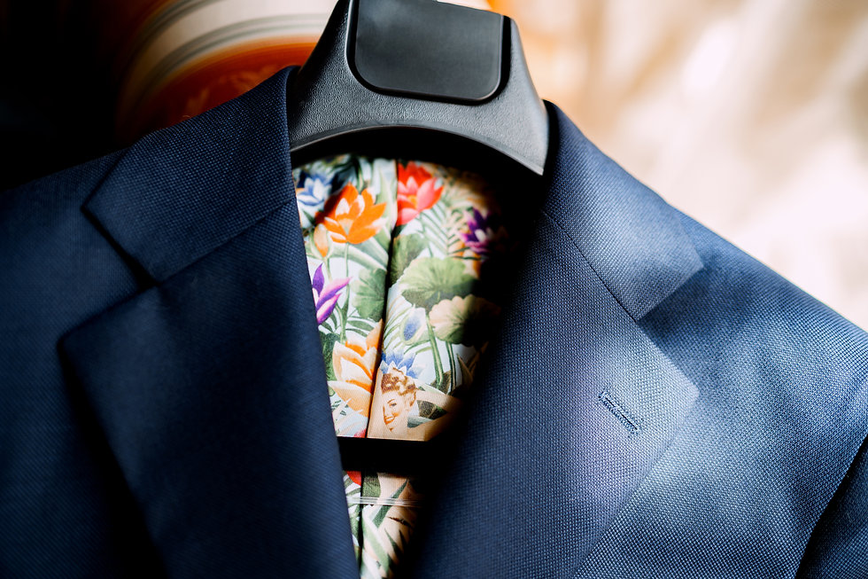 A bright blue jacket with a lining of co