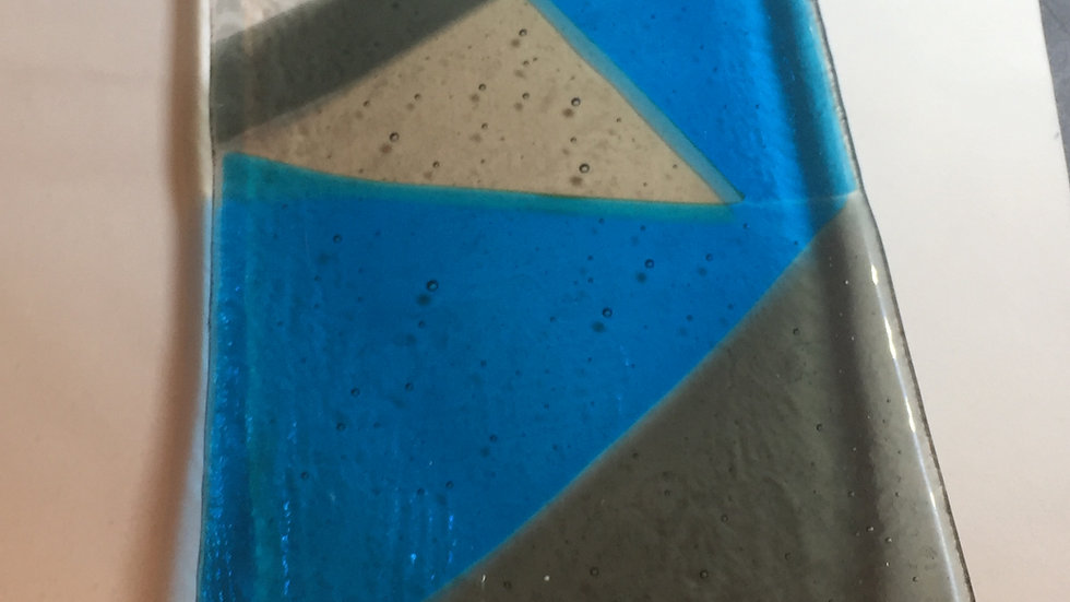 Silver & Blue Platter 30cm x 14cm