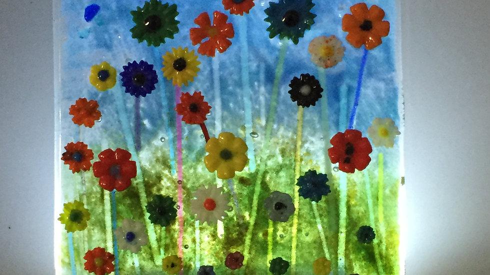Glass Floral Panel 15cm x 17cm