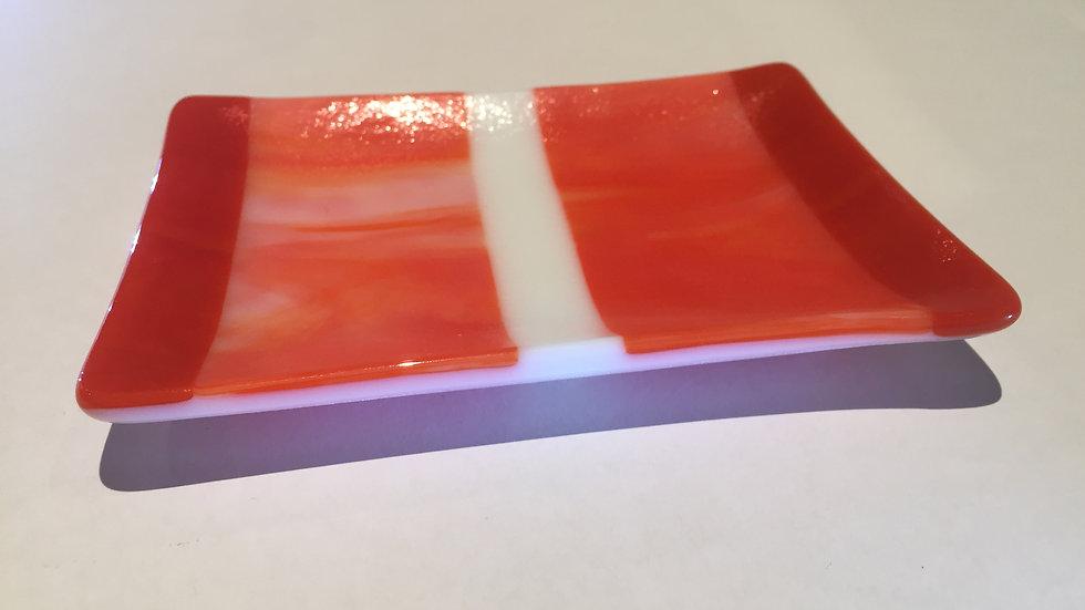 Red, orange streaky dish 14cm x 10cm