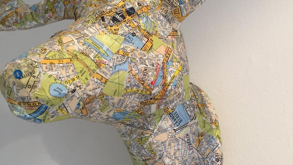 "Decoupaged Head ""Randy"" with London Map"