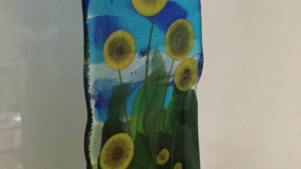 Pressed Glass Floral Panel 8cm x 22cm