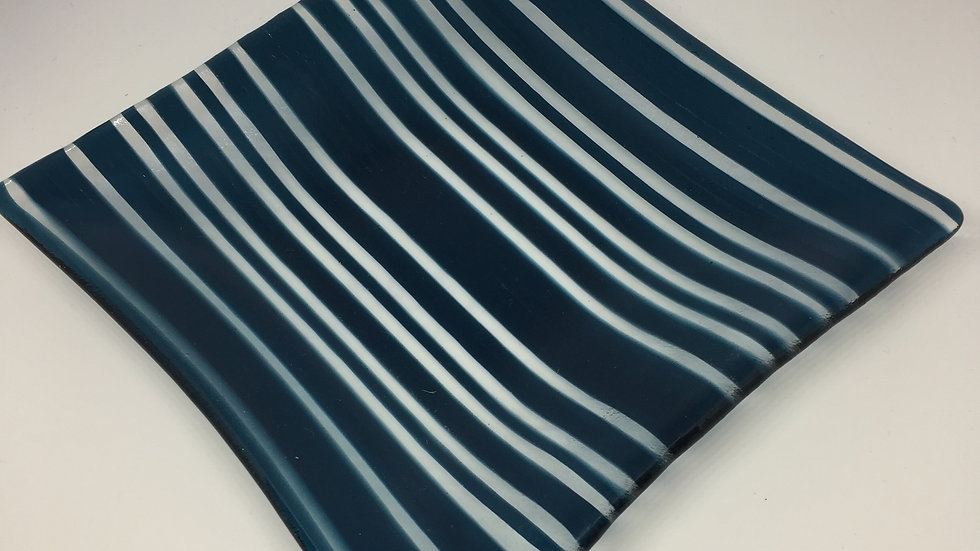 Steel Blue & Clear Stripe Square Dish