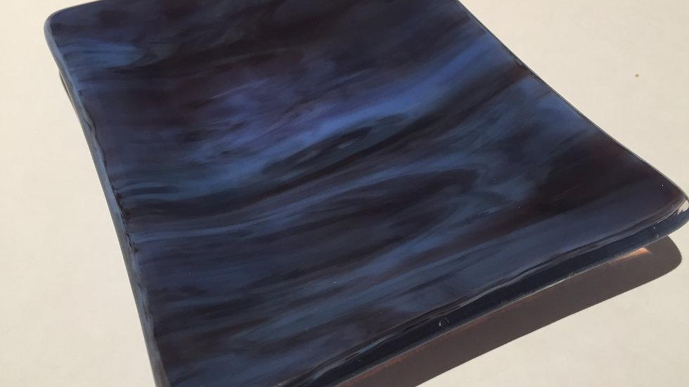 Blue and purple wispy dish 14cm x 10cm