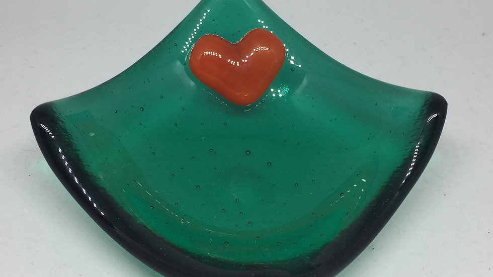 Emerald Trinket dish with bright orange heart 9cm x 9cm