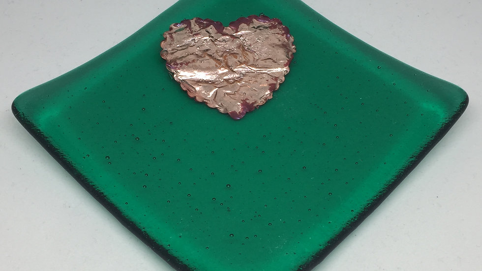 Emerald Green and Copper Dish 10cm x 10cm