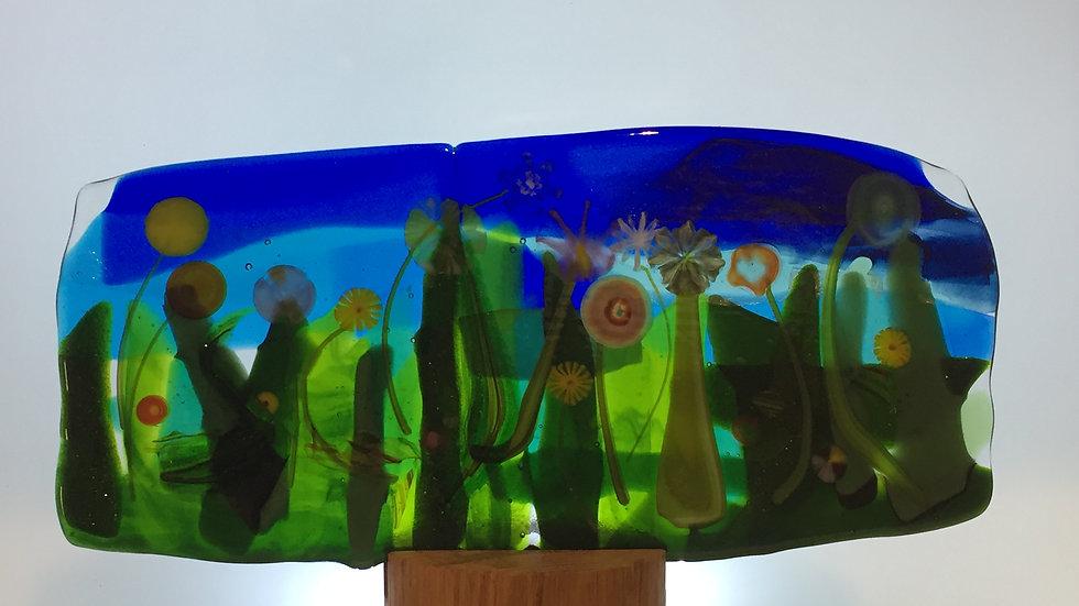 Pressed Glass Floral Panel 24cm x 10cm