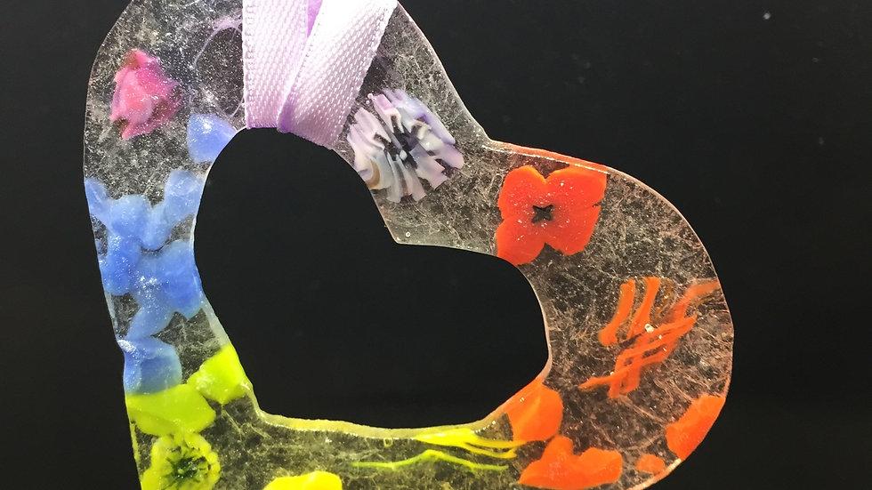 Pressed Glass Heart Sun Catcher 9cm x 9cm