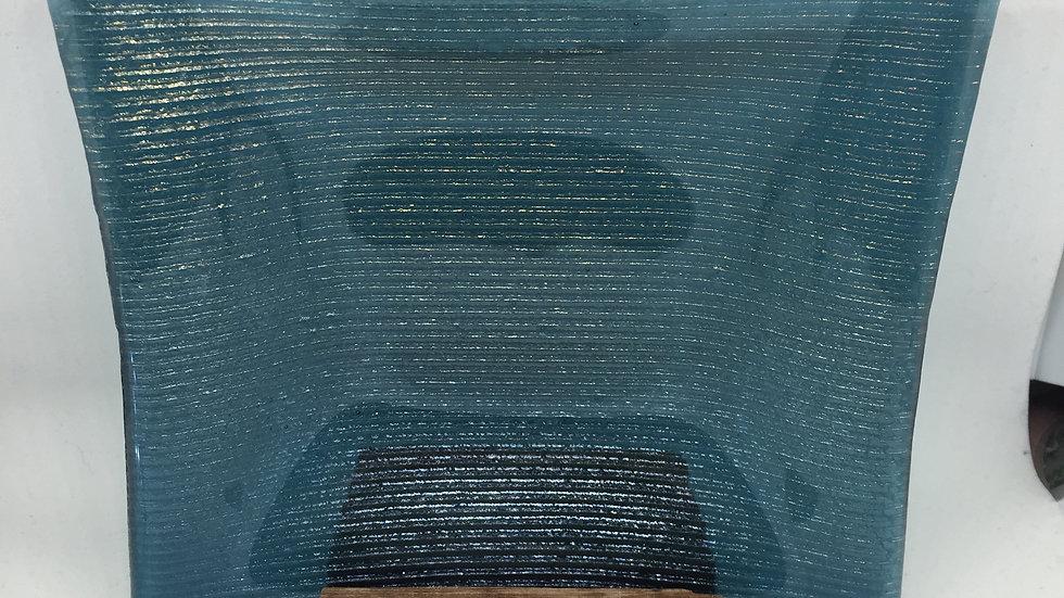 Peacock Blue with rainbow irid sparkle 15cm x 15cm