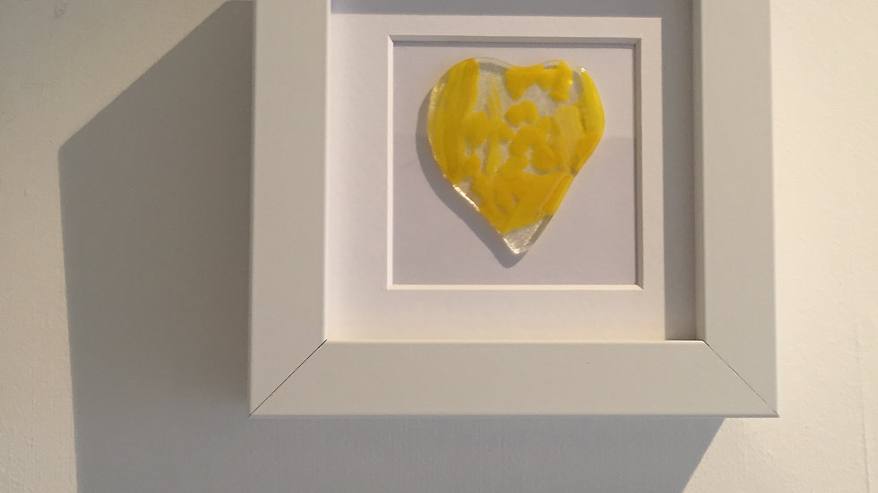 Cheerful Yellow Heart Picture 10cm x 10cm