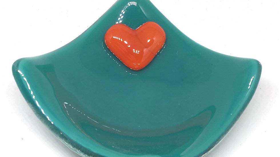 Jade Green & Orange Heart Trinket 9cm x 9cm
