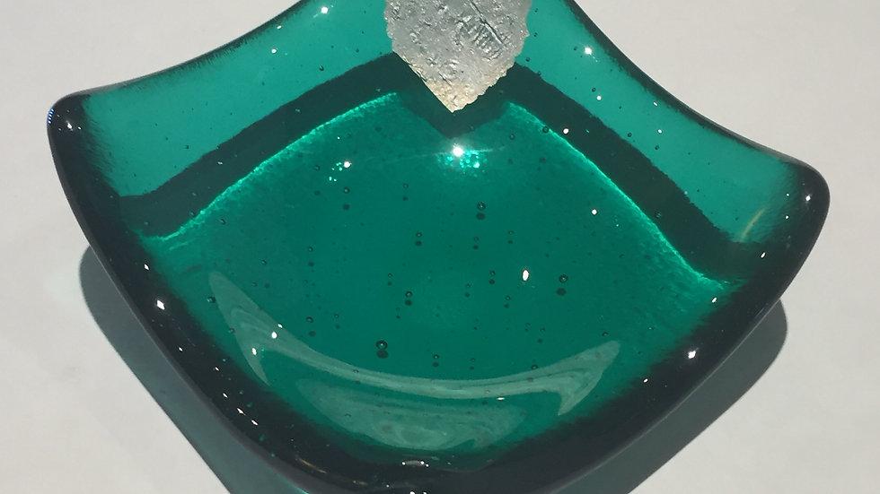 Emerald green and silver heart trinket 9cm x 9cm
