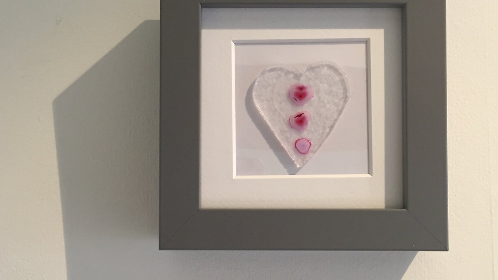 Pink Roses Heart Picture 10cm x 10cm