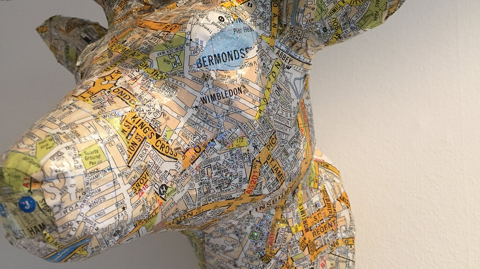 """Decoupaged Head """"Letitia"""" with London Map"""