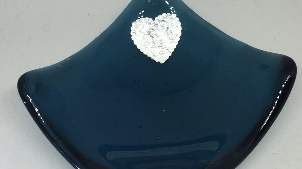 Petrol blue transparent glass with silver heart 9cm x 9cm
