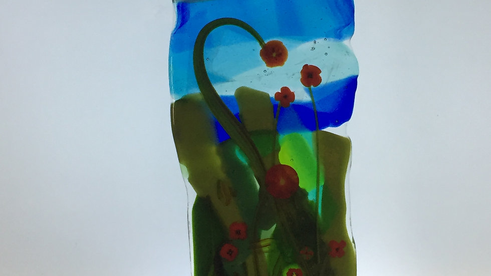 Pressed Glass Floral Panel 10cm x 22cm