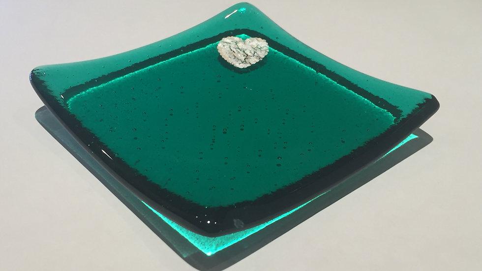 Emerald Green & Silver Heart dish 10cm x 10cm