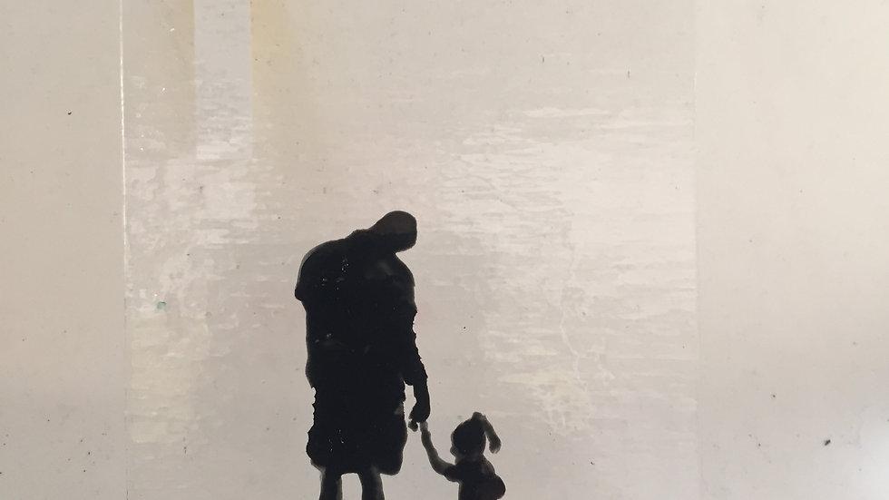 Grandparent/Parent and Child Glass Door Panel